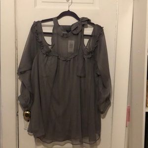 Torrid grey cold shoulder bowed top